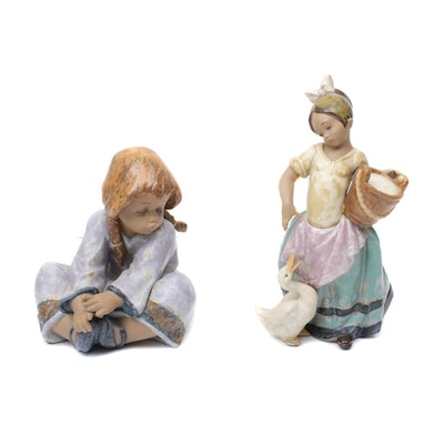 "Lladro ""Noisy Friend"" and ""Lazy Day"" Porcelain Figurines"