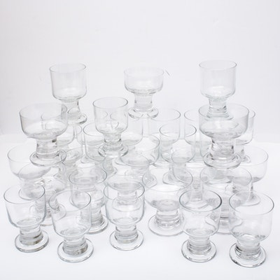 Svend Jensen Danish Modern Footed Crystal Drinkware, Vintage