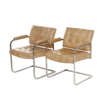 Pair of Modern Style Patrician Leather Upholstered Cantilever Chairs, Circa 1975