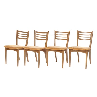 Mid Century Modern Orange Upholstered Walnut Side Chairs, Attributed to Drexel