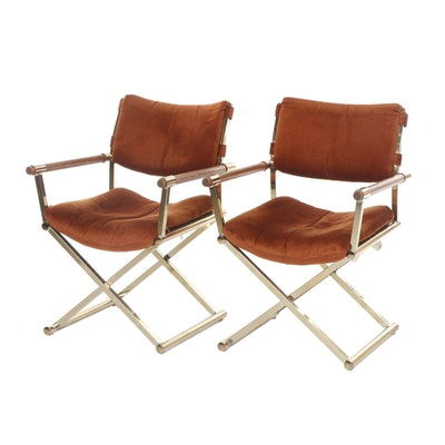 Pair of Cal-Style Furniture Hollywood Regency Brass Director's Chairs, 1970s