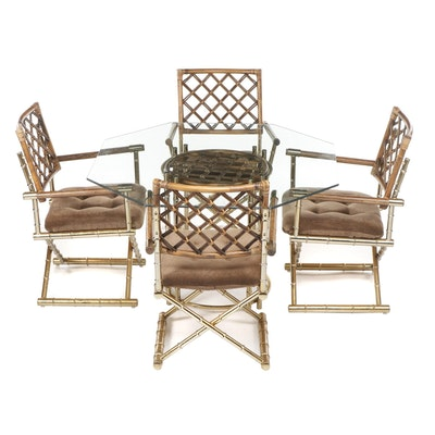 Daystrom Hollywood Regency Brass and Rattan Dining Table and Armchairs, 1970s