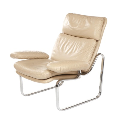 Thema Italy Chrome and Leather Lounge Chair Attributed to Gastone Rinaldi, 1970s