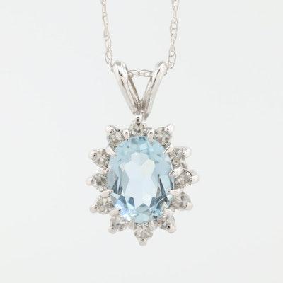 14K White Gold Aquamarine and Diamond Pendant Necklace