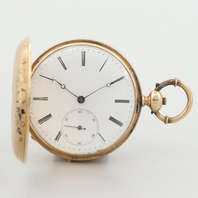 Swiss 14K Yellow Gold Hunters Case Pocket Watch