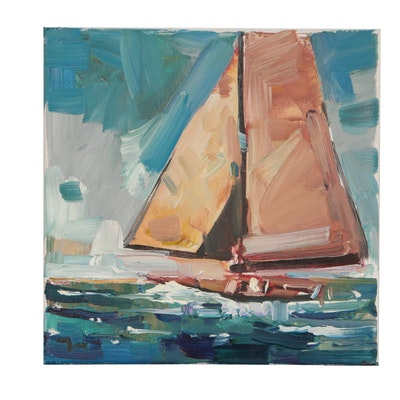 "Jose Trujillo Nautical Oil Painting ""Bright Day at the Sea"""