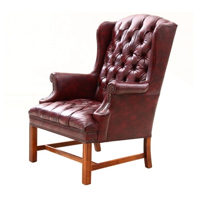 Contemporary Chippendale Style Bonded Leather, Button-Tufted Wingback Armchair