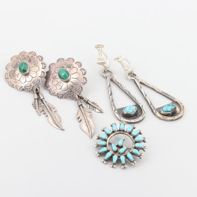 Southwestern Sterling Silver Turquoise and Malachite Earrings and Brooch
