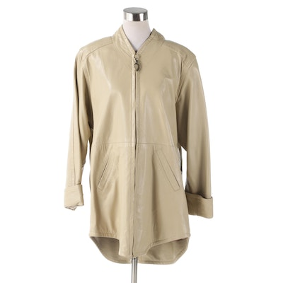 Stavros New York Taupe Leather Zipper-Front Jacket