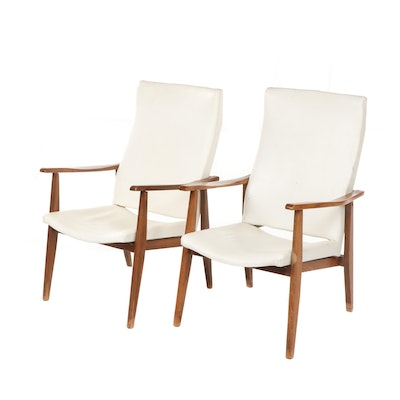 Pair of Danish Modern Walnut and White Vinyl High-Back Lounge Chairs, 1960s