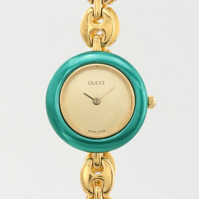 Gucci 11/12.2 Gold Tone Quartz Wristwatch