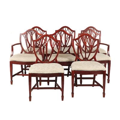 Set of Eight Matching Wood Framed Dining Chairs with Upholstered Seats