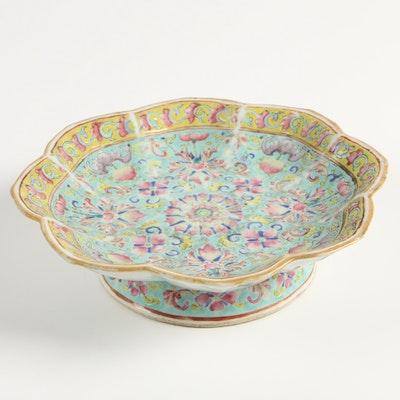 Qing Dynasty Famille Rose Glazed Ceramic Dish