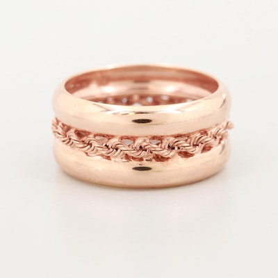 10K Rose Gold Band with Rope Center