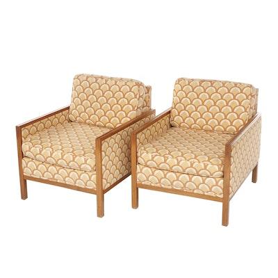 Pair of Danish Modern Teak-Framed Upholstered Club Chairs, 1960s