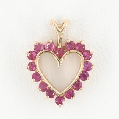 14K Yellow Gold Ruby Heart Pendant