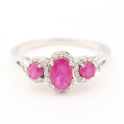 14K White Gold Ruby and Diamond Ring