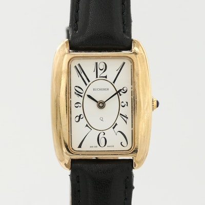 Vintage Bucherer Gold Tone Quartz Wristwatch