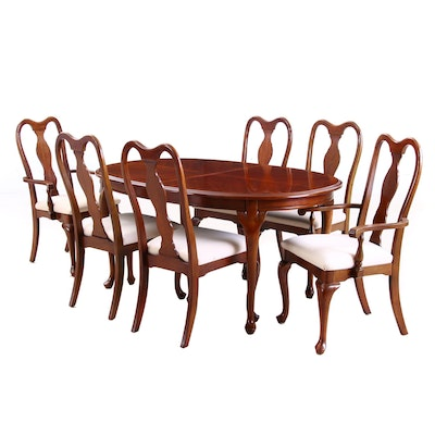 Seven-Piece Henry Link Corp., Queen Ann Style Cherrywood-Stained Dining Set