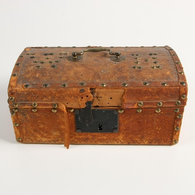 Handcrafted Leather Covered Lock Box