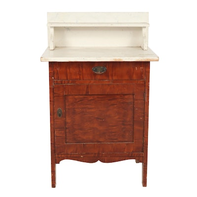 Wooden Wash Stand with Painted Top, Circa 1900