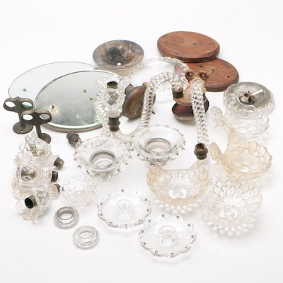 Assorted Glass Candelabra Parts and Bases