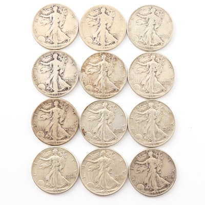 Twelve Walking Liberty Silver Half Dollar Coins