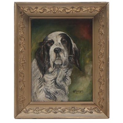 1921 Oil Painting of Dog