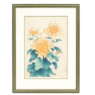 "Shodo Kawarazaki Woodblock ""Chrysanthemum"""