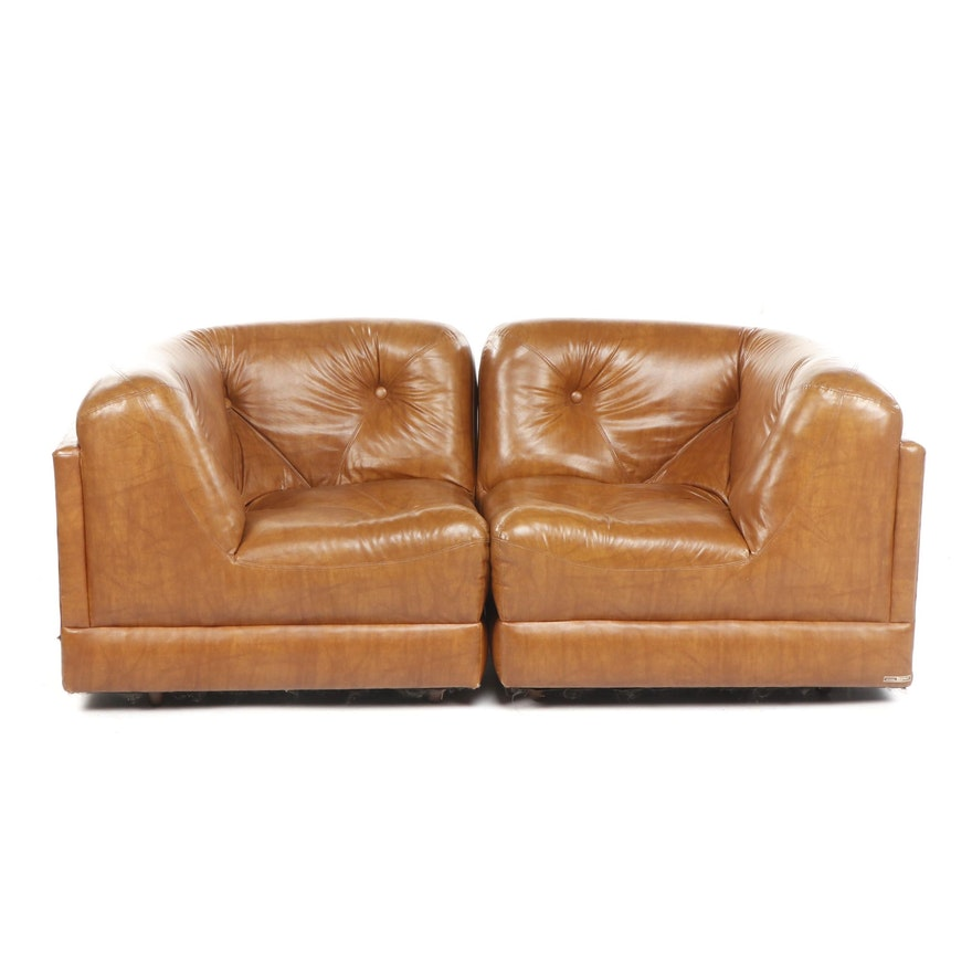 Pair of Mid Century Modular Over-stuffed Button Tufted Tan Leather Chairs