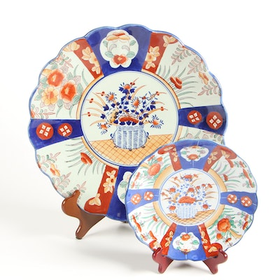 Victoria Ware Ironstone Charger in an Imari Style with Japanese Imari Plate