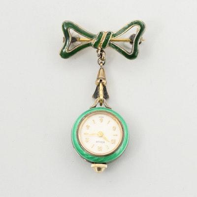 Türler Sterling Silver Green Enamel Pin Watch