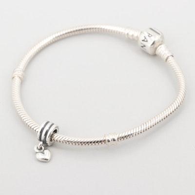 Pandora Sterling Silver Charm Bracelet Including Heart Dangle Charm