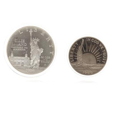 1986-S Liberty Silver Dollar and Half Dollar Proof Set