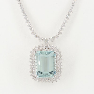 18K White Gold 20.12 CT Aquamarine and 8.53 CTW Diamond Pendant Necklace