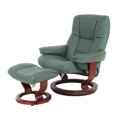 Contemporary Green Leather Recliner with Ottoman
