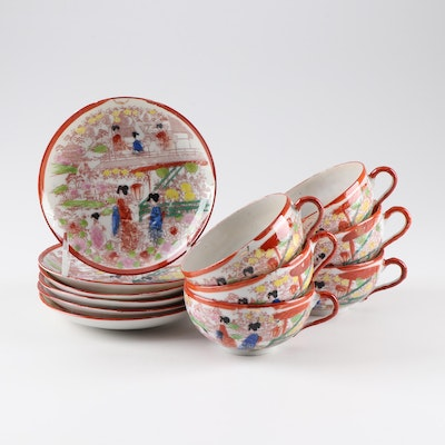 Vintage Hand Painted Porcelain Teacups and Saucers