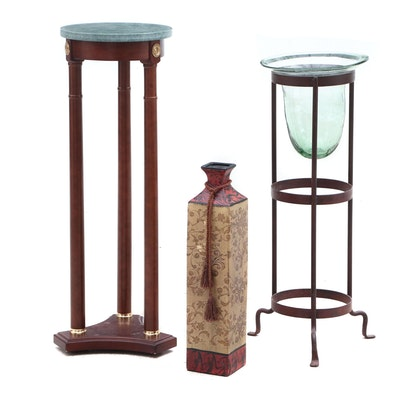 Federal Style Marble Top Wooden Plant Stand, Floor Vase and Decor