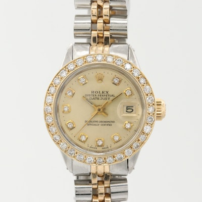 Rolex Datejust Stainless Steel, 14K Gold And Diamond Automatic Wristwatch, 1969