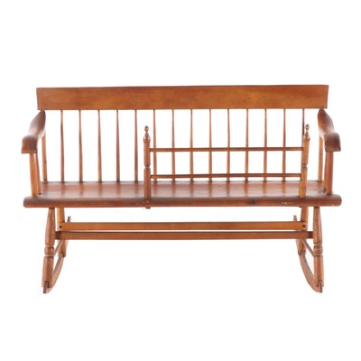 American Primitive Late Federal Maple and Pine Mammy Bench, Mid-19th Century