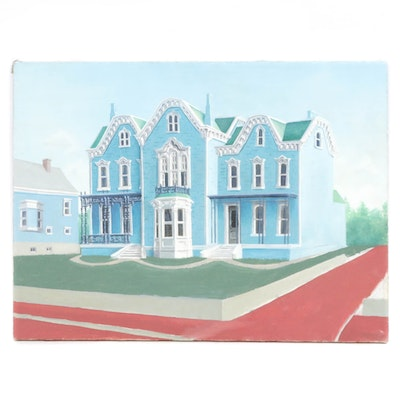 Late 20th Century Oil Painting of Victorian House