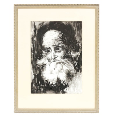 "G. Amiel Watercolor Painting ""Old Man"""
