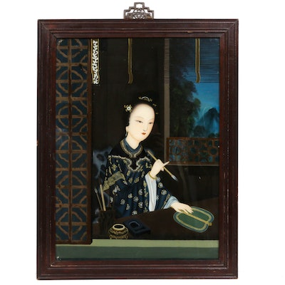 Chinese Reverse Gouache Portrait Painting on Glass