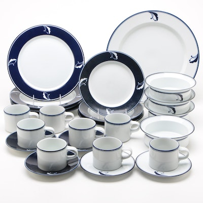 "Dansk ""Flora Bayberry Blue"" and ""Flora Indigo"" China Dinnerware"