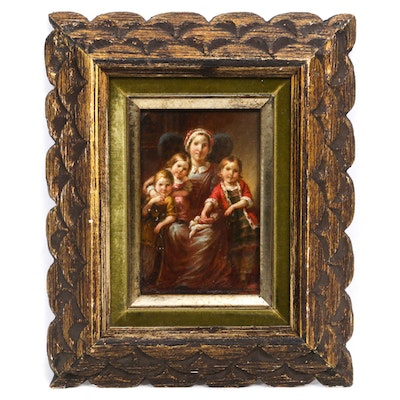 Colonial Style Family Portrait Oil Painting