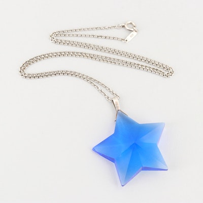 Tiffany & Co Sterling Silver Blue Crystal Star Pendant Necklace