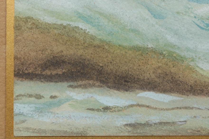 Dr. S. P. Appleman Coastal Landscape Gouache Painting
