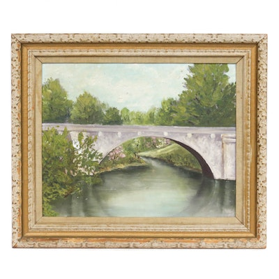 Bridge Landscape Oil Painting