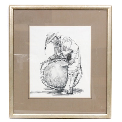 """Hollis Williford Charcoal Drawing """"A Prime Beaver Plew"""""""
