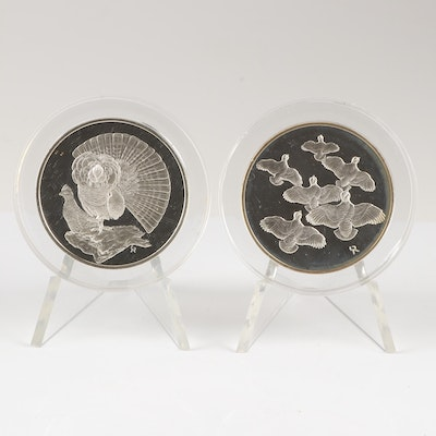 "Pair of 1971 Sterling Silver Franklin Mint ""Roberts Birds"" Medals"